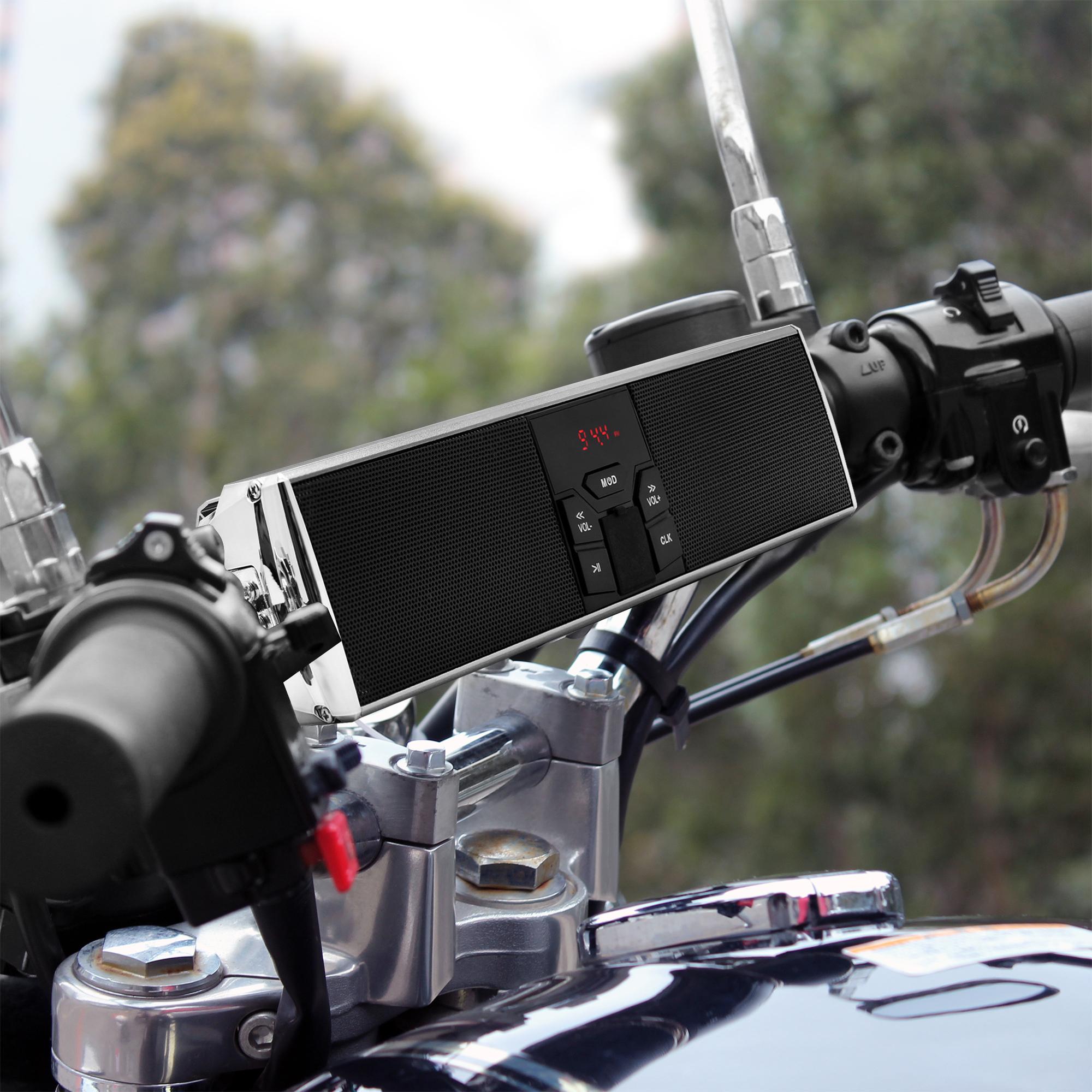 FM Radio Handlebar Mount MP3 Music Player Audio Amplifier System Scooter Bike ATV UTV RE9-X Silver GoldenHawk RE9-X Waterproof Bluetooth Wireless Motorcycle Stereo Speakers 7//8-1.25 in USB