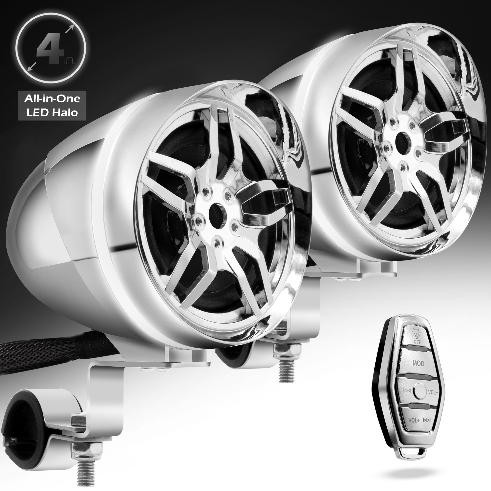 GoHawk AR4-Halo LED 4 in. All-in-One Bluetooth Motorcycle Stereo Speakers on