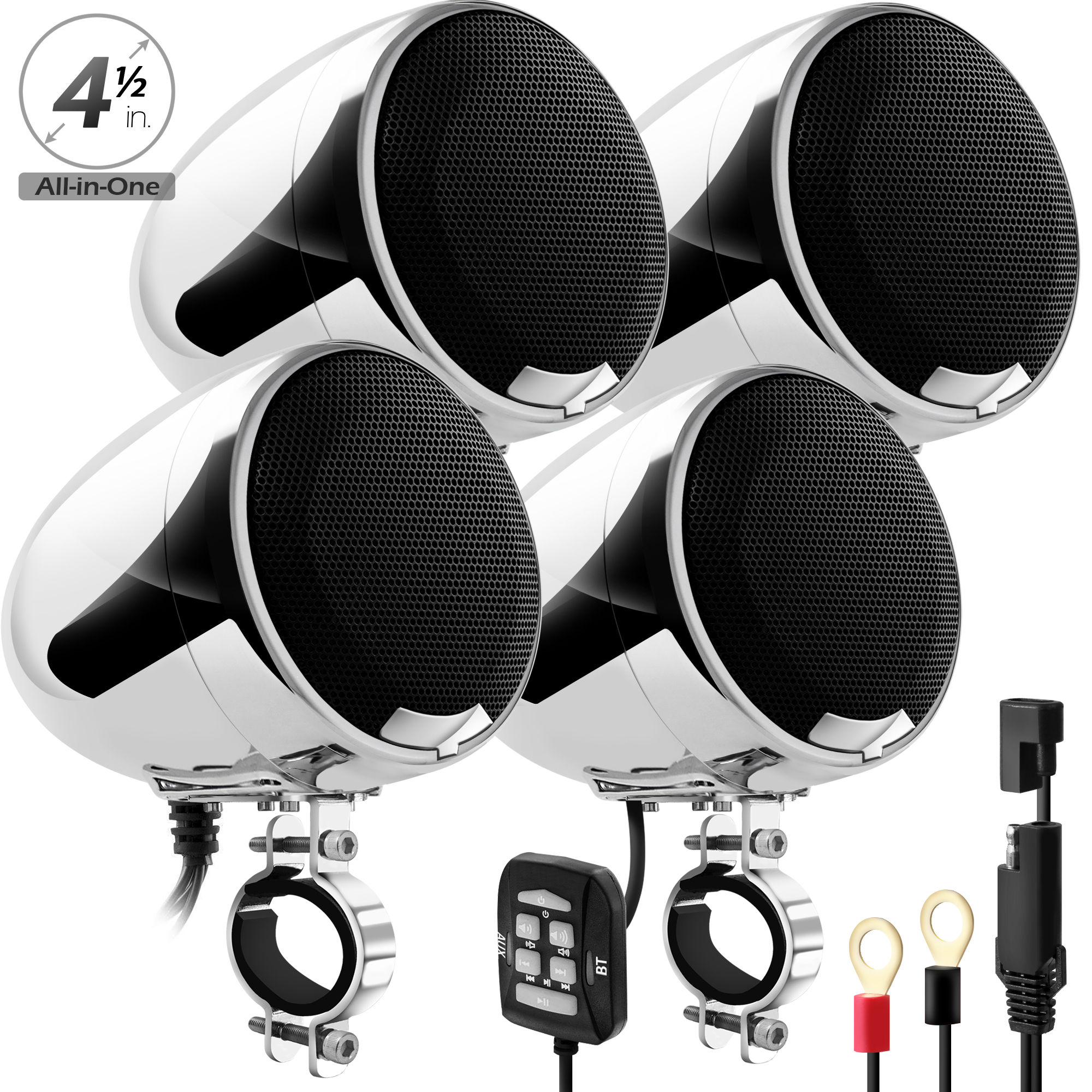 GoHawk AN4-QX 4 5 in  1200W All-in-One 4-Channel Bluetooth Amplifier  Motorcycle Stereo Speakers (Chrome)